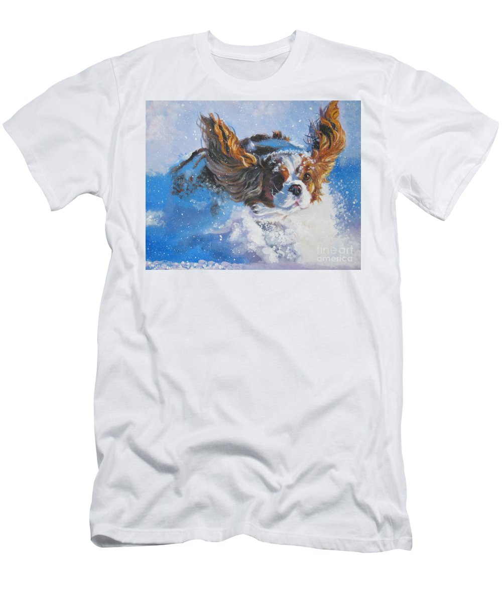 Dog Men's T-Shirt (Athletic Fit) featuring the painting Cavalier King Charles Spaniel Blenheim In Snow by Lee Ann Shepard