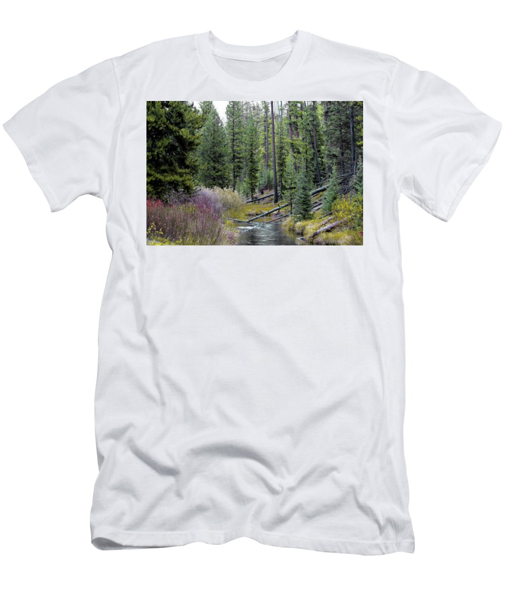 Yellowstone Men's T-Shirt (Athletic Fit) featuring the photograph Above The Falls by Lynn Sprowl