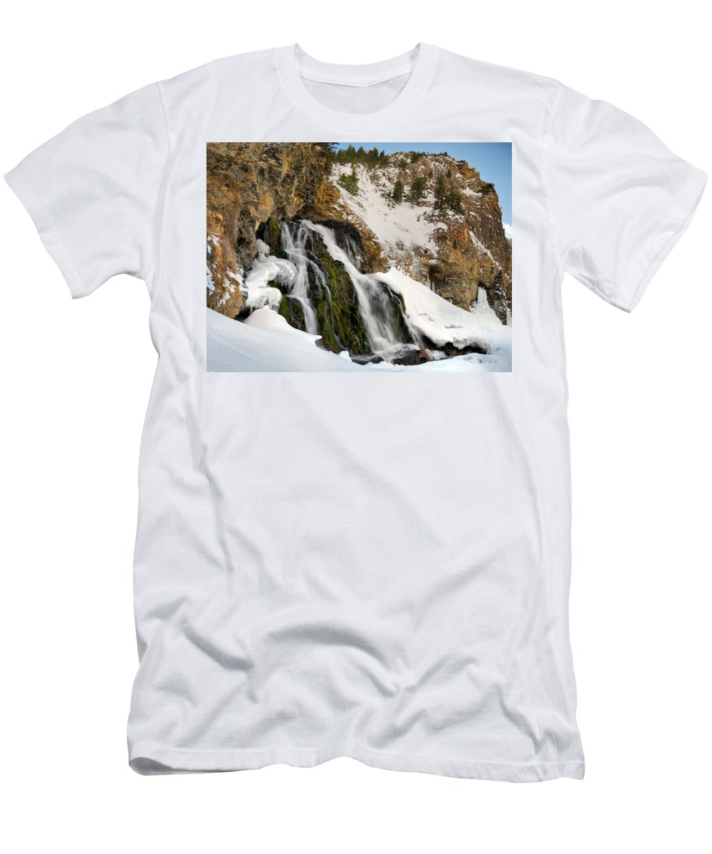 Scenic Men's T-Shirt (Athletic Fit) featuring the photograph Cedar Creek Falls Winter by Leland D Howard