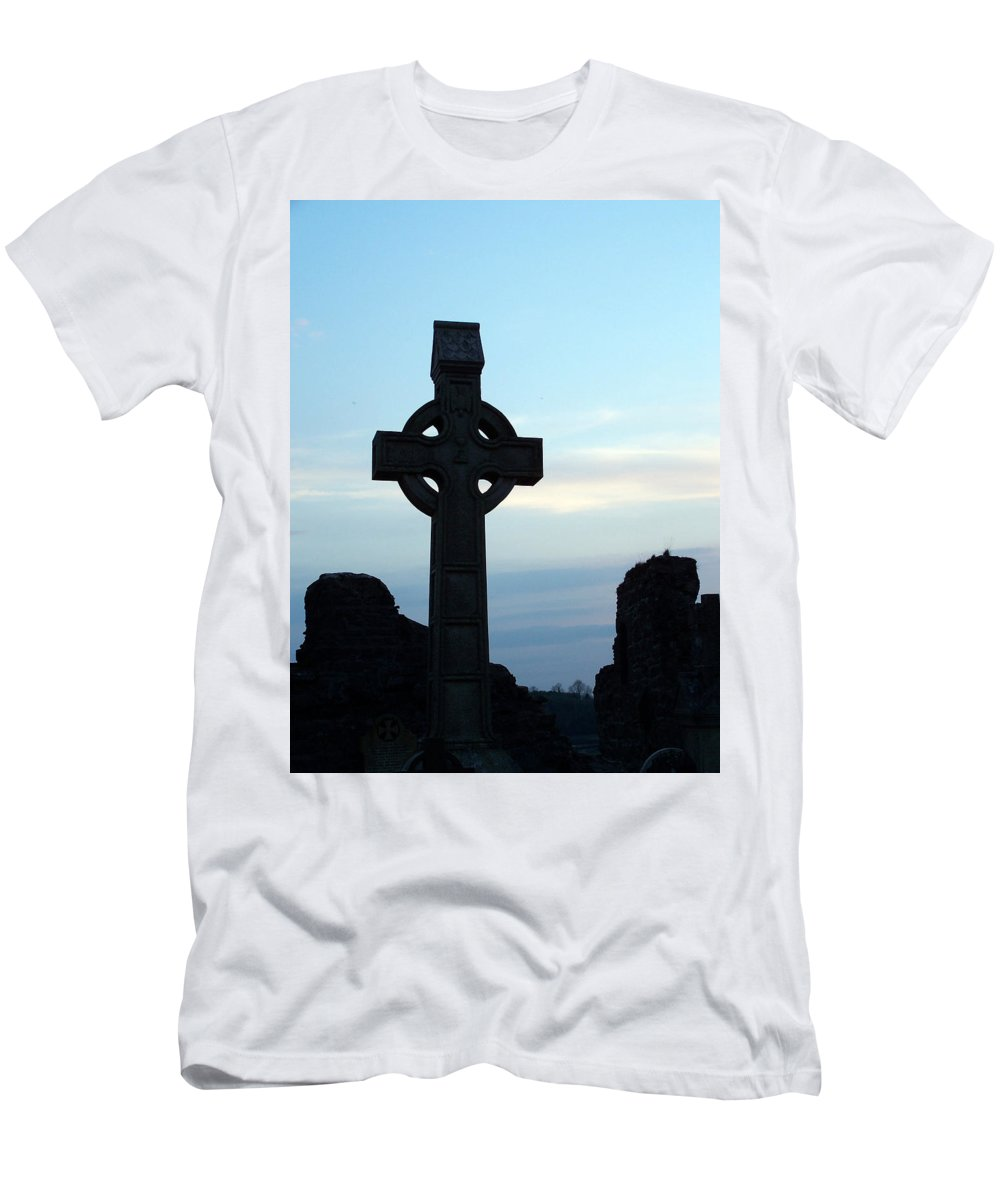 Irish Men's T-Shirt (Athletic Fit) featuring the photograph Celtic Cross At Sunset Donegal Ireland by Teresa Mucha