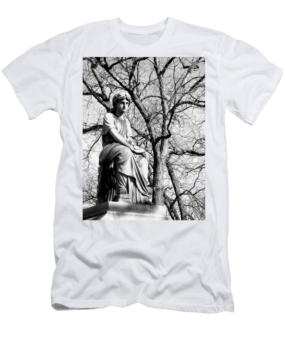 Cemetary Men's T-Shirt (Athletic Fit) featuring the photograph Cemetary Statue B-w by Anita Burgermeister