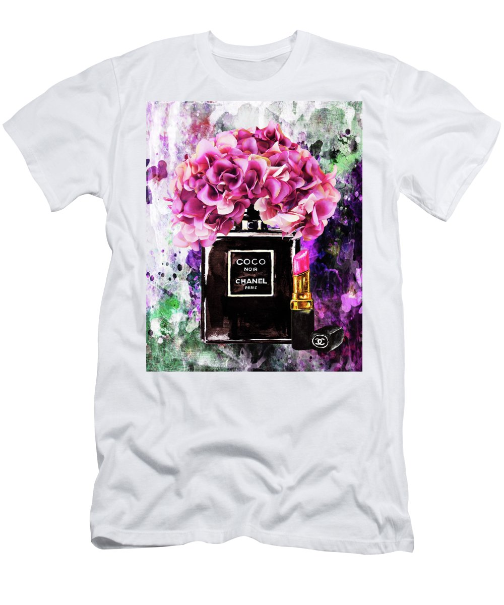Chanel Perfume With Pink Flowers T Shirt For Sale By Del Art