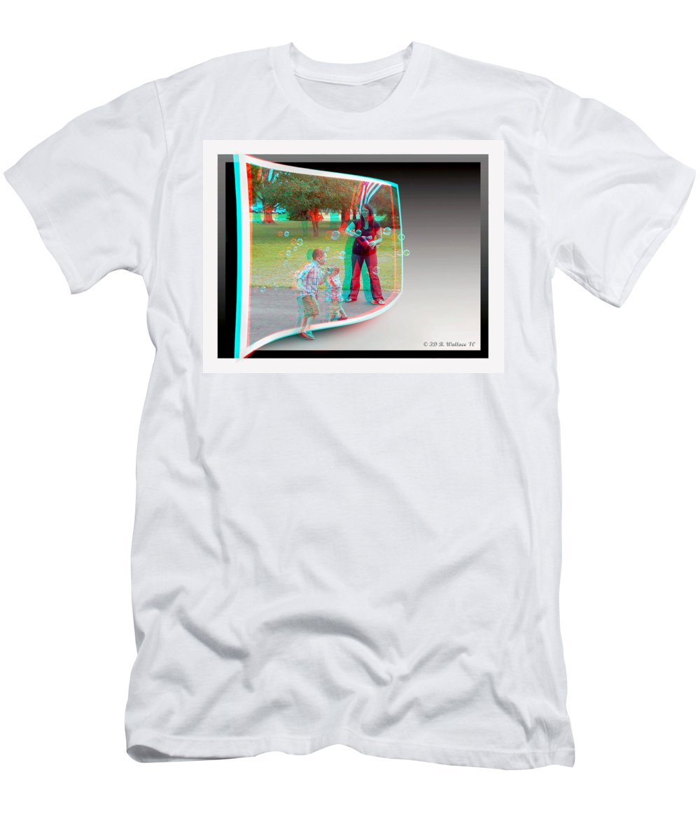 3d Men's T-Shirt (Athletic Fit) featuring the photograph Chasing Bubbles - Use Red-cyan 3d Glasses by Brian Wallace