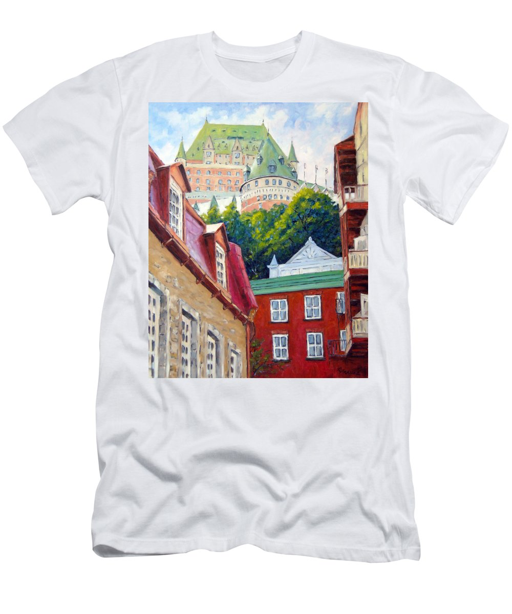 Town Men's T-Shirt (Athletic Fit) featuring the painting Chateau Frontenac 02 by Richard T Pranke