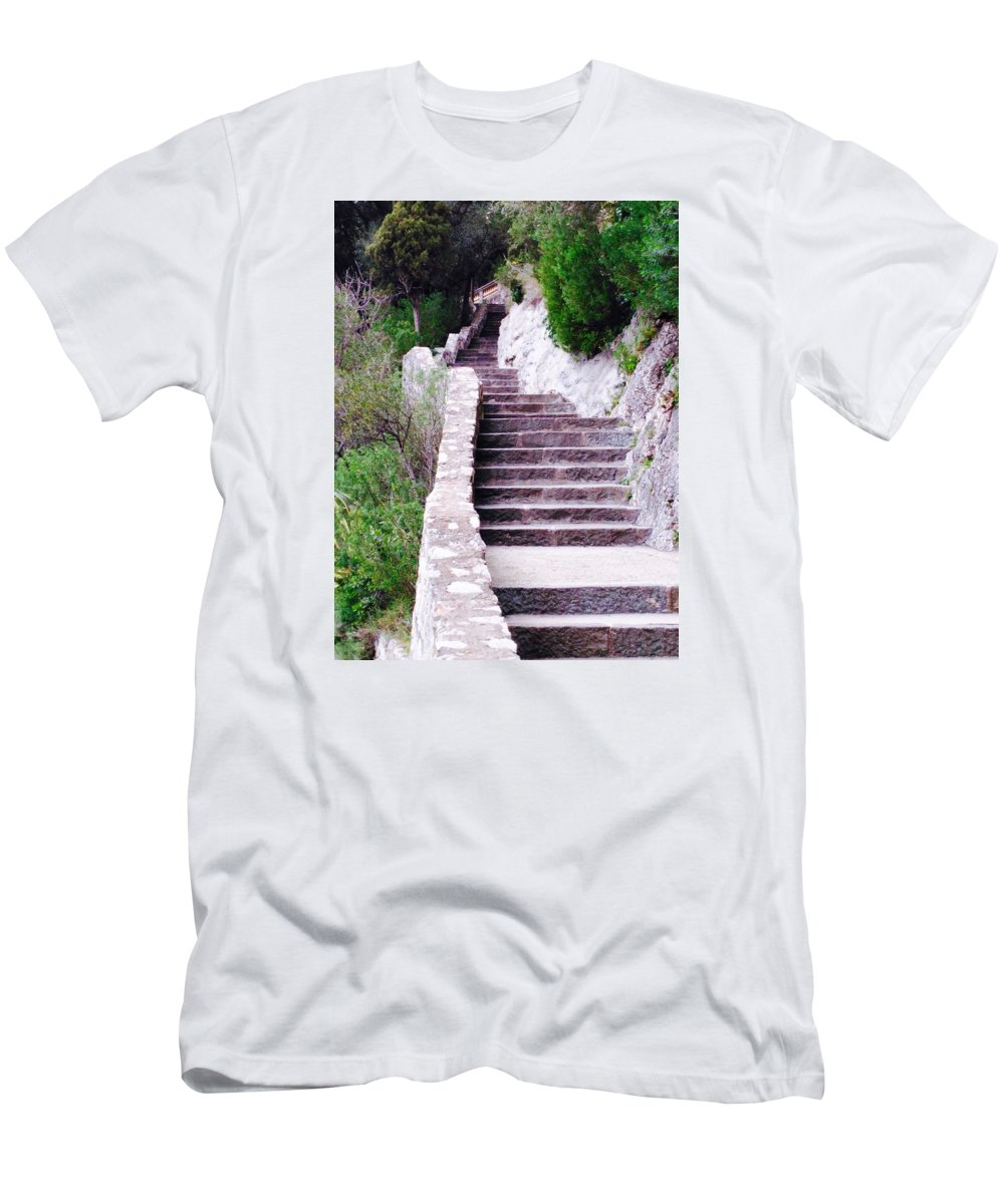 Chateau T-Shirt featuring the photograph Chateau Stairs by Tiffany Marchbanks