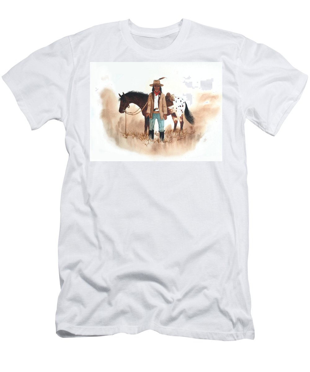 Cherokee Men's T-Shirt (Athletic Fit) featuring the painting Cherokee Lighthorse by John Guthrie