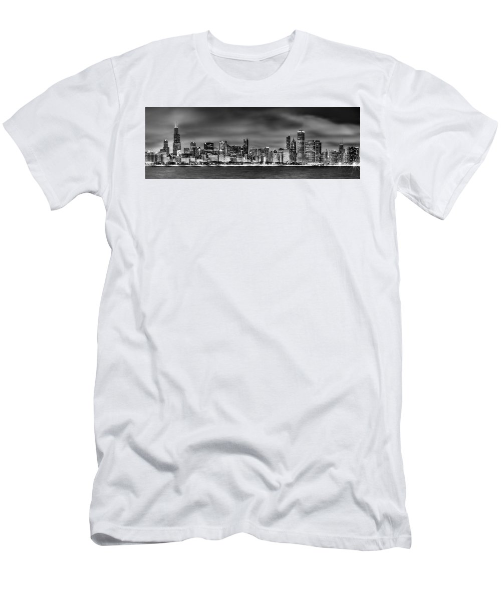 Chicago Skyline Men's T-Shirt (Athletic Fit) featuring the photograph Chicago Skyline At Night Black And White by Jon Holiday