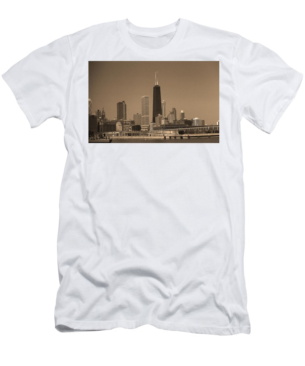 America Men's T-Shirt (Athletic Fit) featuring the photograph Chicago Skyline Sepia #10 by Frank Romeo