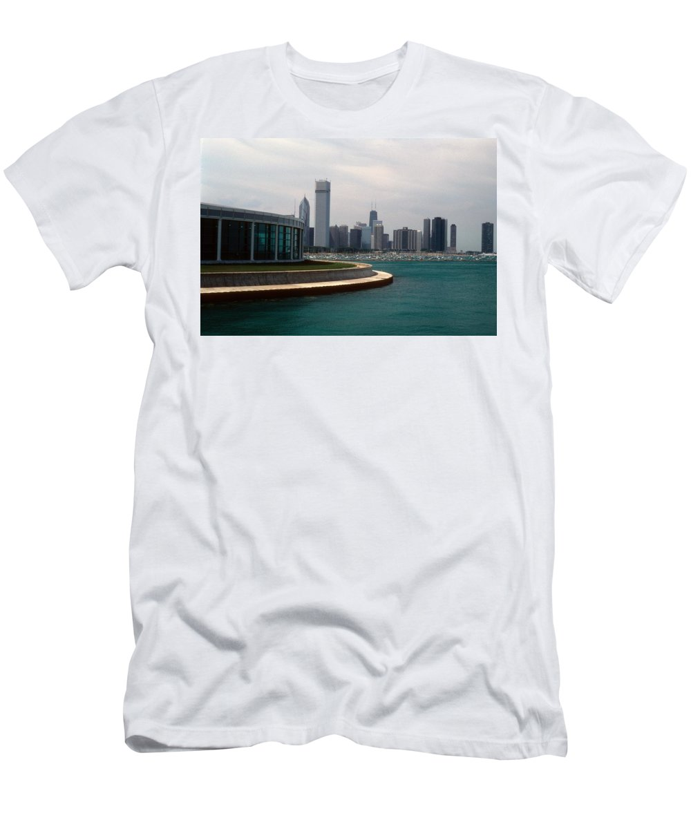 Chicago Men's T-Shirt (Athletic Fit) featuring the photograph Chicago Waterfront by Gary Wonning