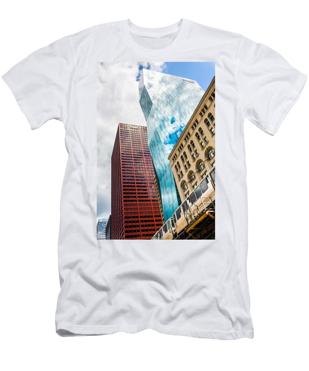 Blue Men's T-Shirt (Athletic Fit) featuring the photograph Chicago's South Wabash Avenue by Semmick Photo