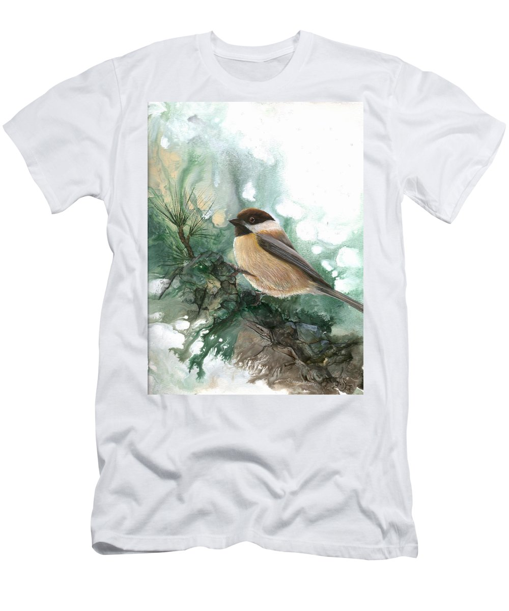 Bird Men's T-Shirt (Athletic Fit) featuring the painting Chickadee by Sherry Shipley