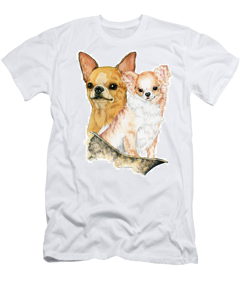 Chihuahua Men's T-Shirt (Athletic Fit) featuring the drawing Chihuahuas by Kathleen Sepulveda