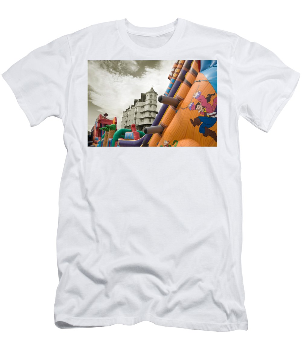 Childrens Men's T-Shirt (Athletic Fit) featuring the photograph Childrens Play Areas Contrast With The Victorian Elegance Of The Grand Hotel In Llandudno Wales Uk by Mal Bray