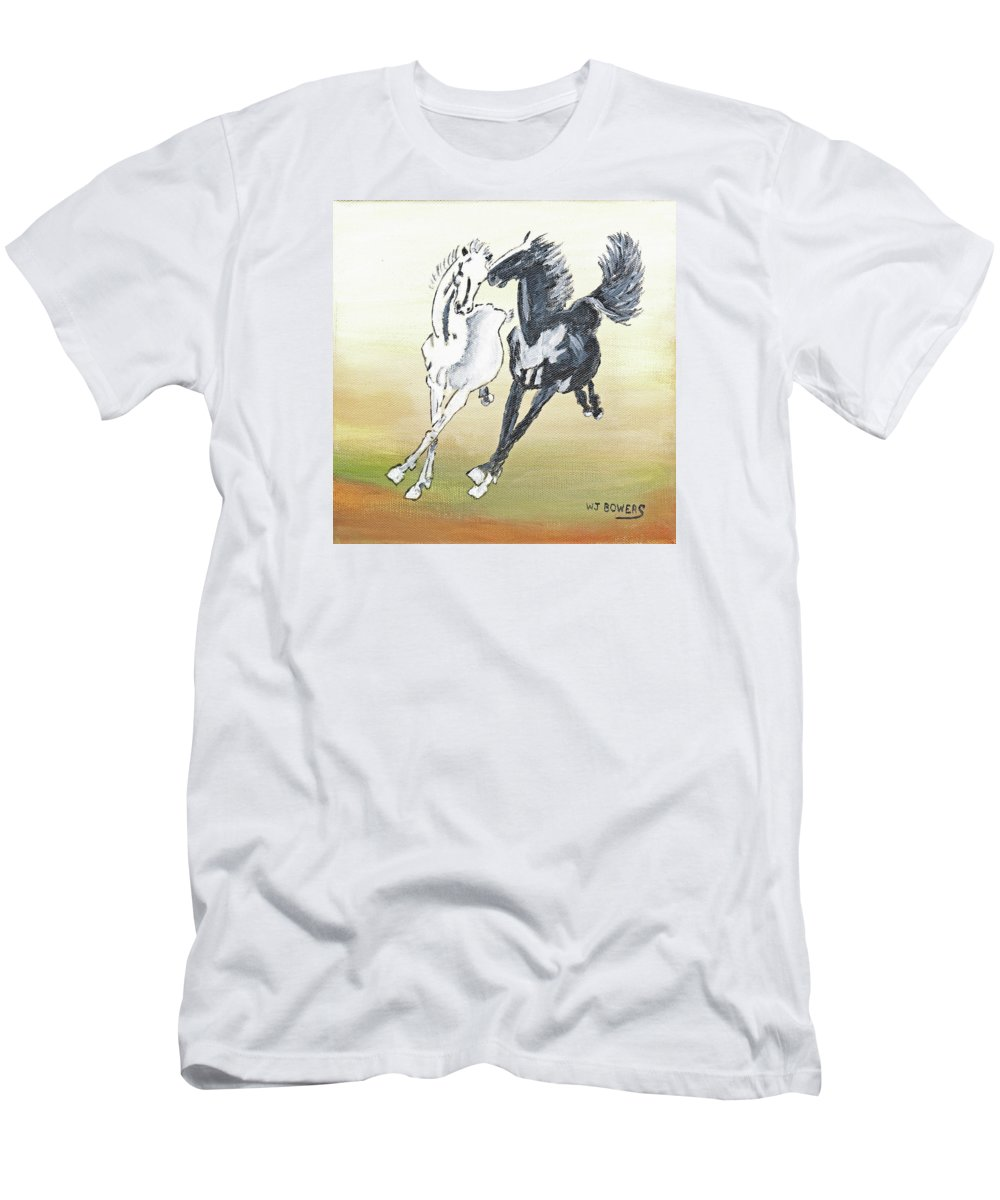 Horses Men's T-Shirt (Athletic Fit) featuring the painting Chinese Running Horses by William Bowers