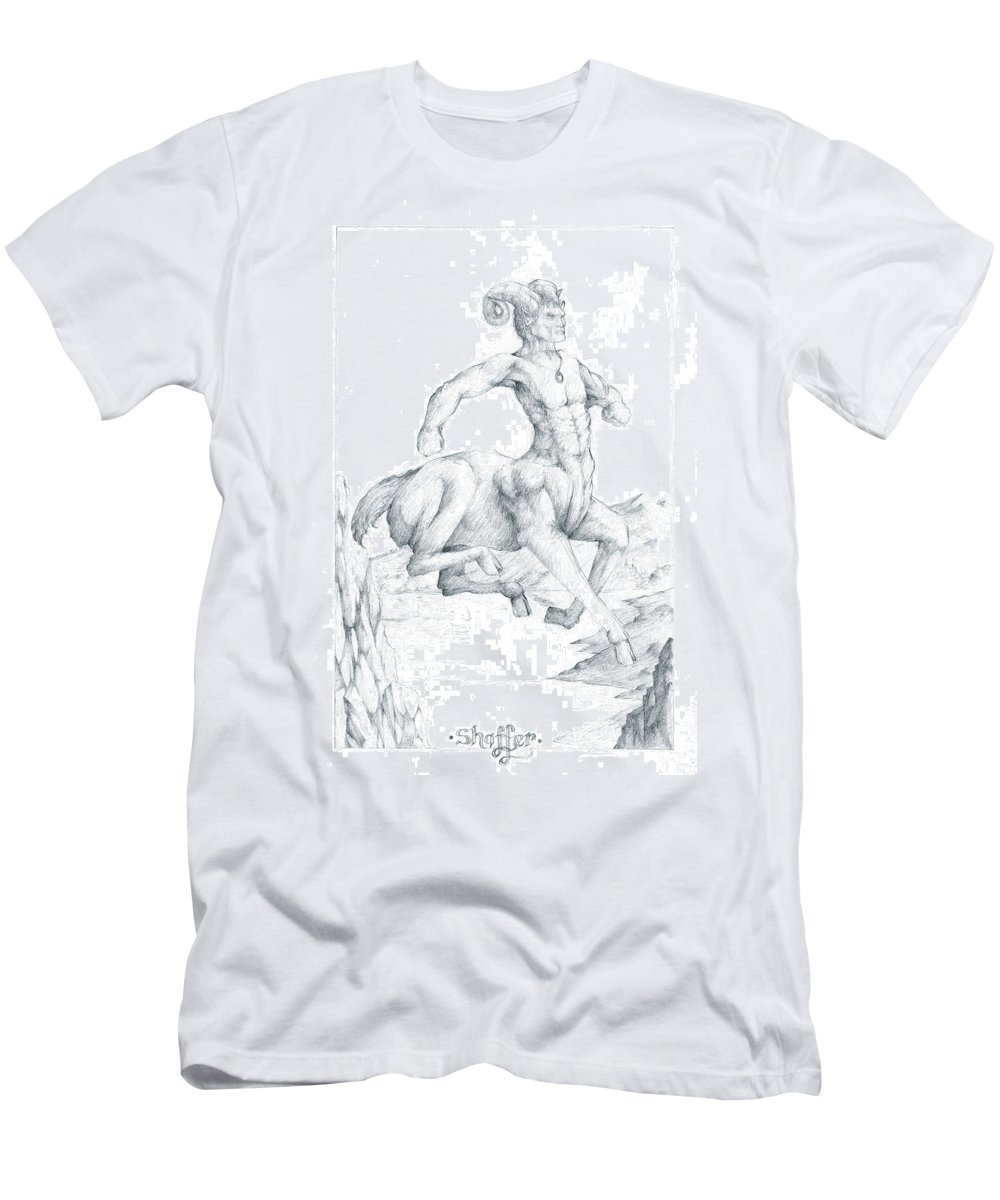 Centaur Men's T-Shirt (Athletic Fit) featuring the drawing Chiron The Centaur by Curtiss Shaffer