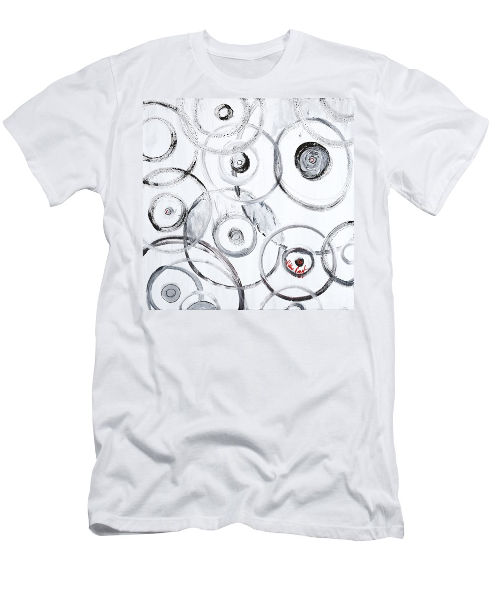 Circles Men's T-Shirt (Athletic Fit) featuring the painting Choices In White by Nadine Rippelmeyer
