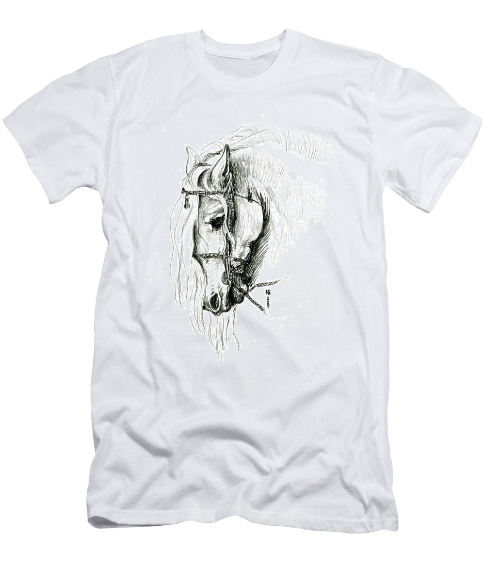 Domestic Men's T-Shirt (Athletic Fit) featuring the drawing Chomping At Bit - Sketch1 by Shirley Heyn