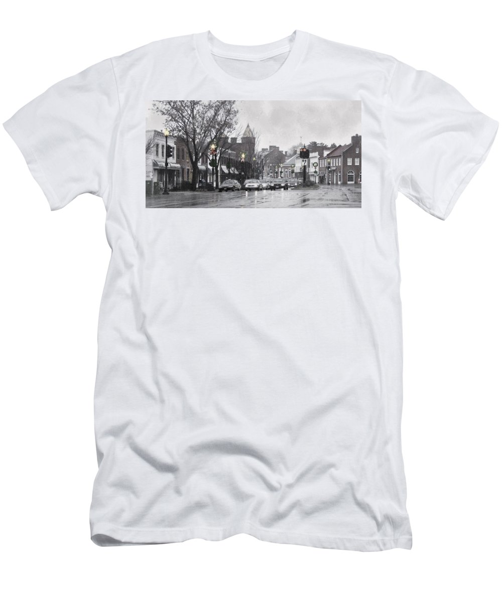 City Men's T-Shirt (Athletic Fit) featuring the photograph Christmas City Street by Francesa Miller