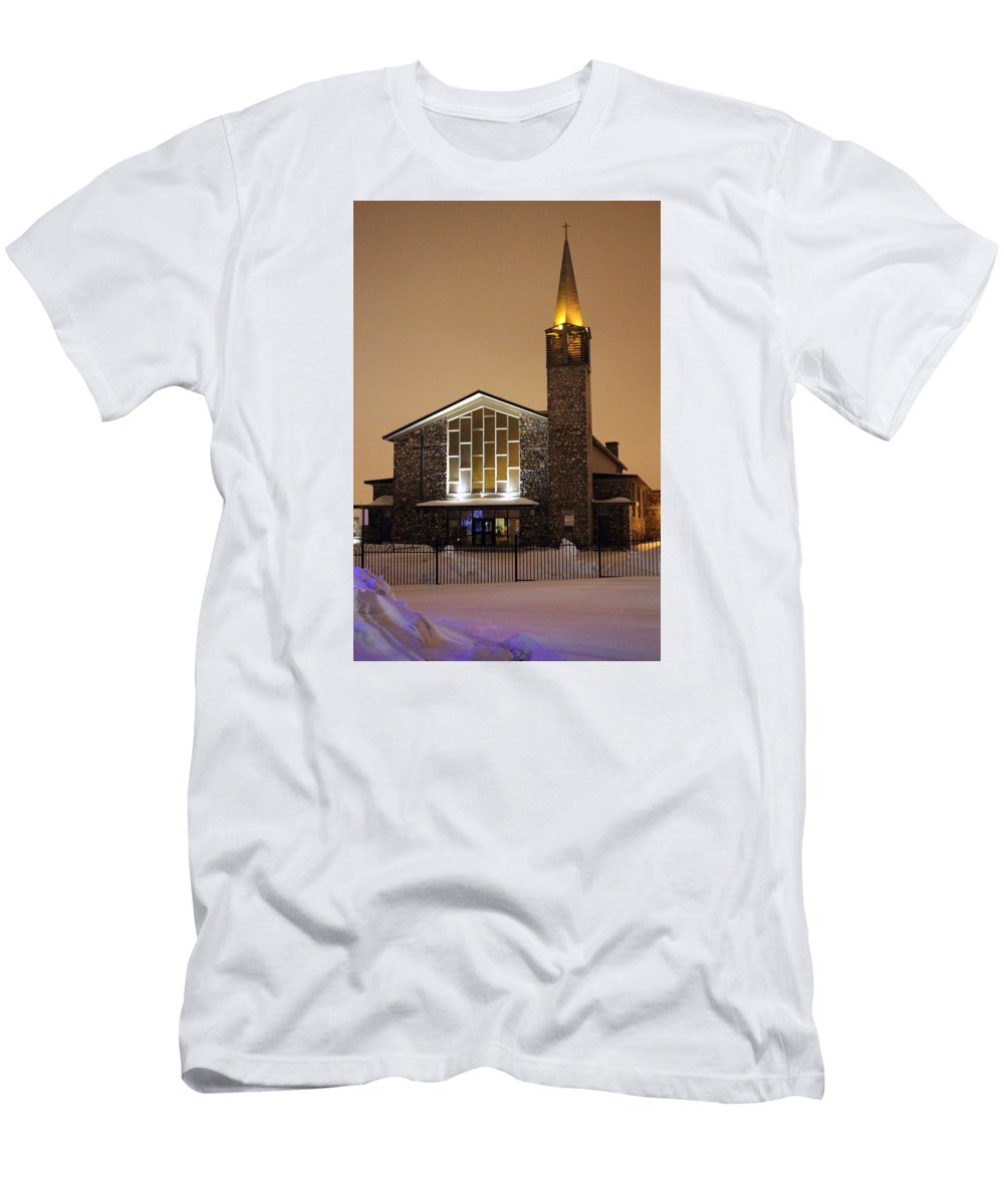 Church Men's T-Shirt (Athletic Fit) featuring the photograph Christmas Worship by Daniel Jewell