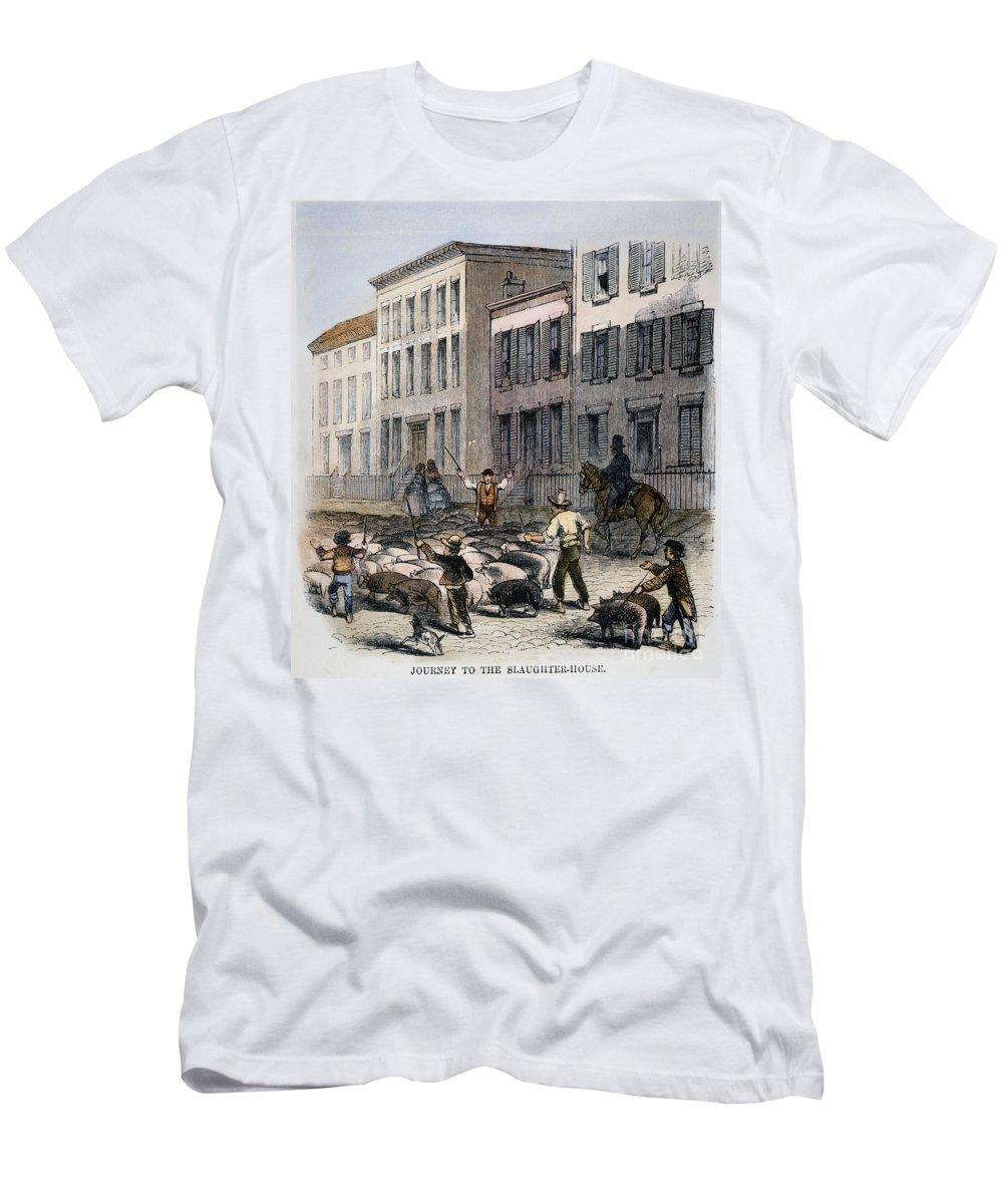 1860 Men's T-Shirt (Athletic Fit) featuring the photograph Cincinnati Hog Herding by Granger