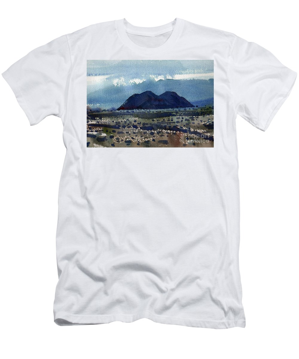Cinder Cone Men's T-Shirt (Athletic Fit) featuring the painting Cinder Cone Death Valley by Donald Maier