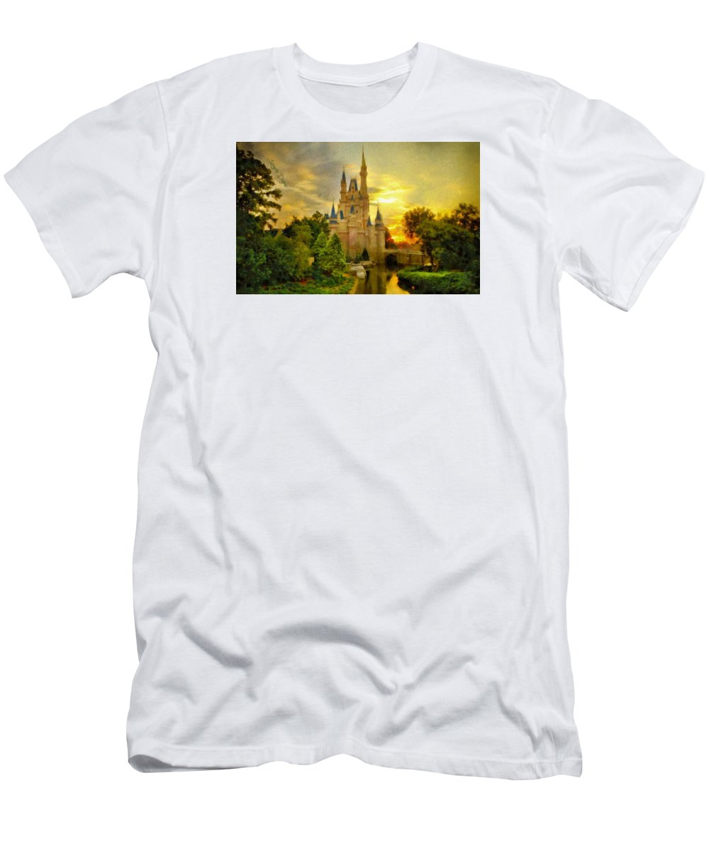 Administration Men's T-Shirt (Athletic Fit) featuring the painting Cinderella Castle - Monet Style by Leonardo Digenio