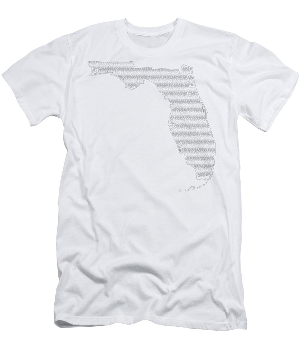 Florida Men's T-Shirt (Athletic Fit) featuring the digital art Cities And Towns In Florida Black by Custom Home Fashions