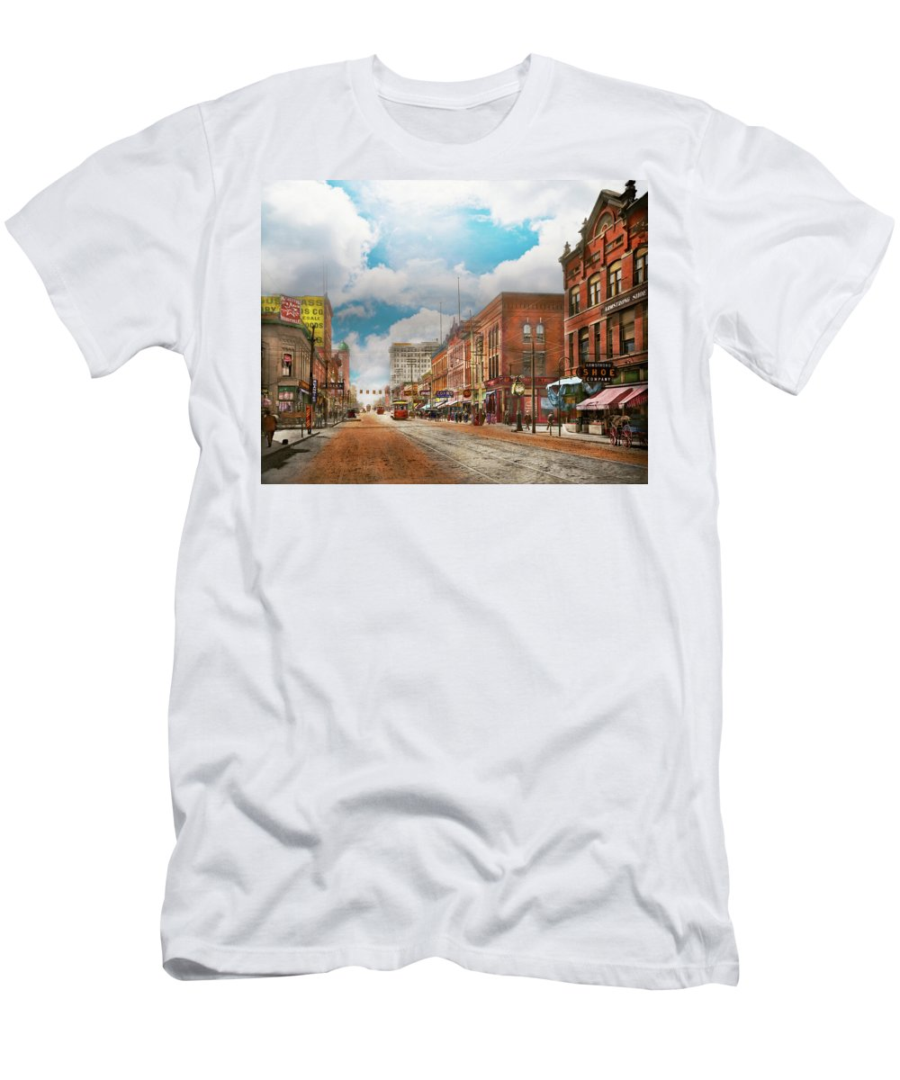 Commercial Men's T-Shirt (Athletic Fit) featuring the photograph City - Arkansas - Main St 1925 by Mike Savad