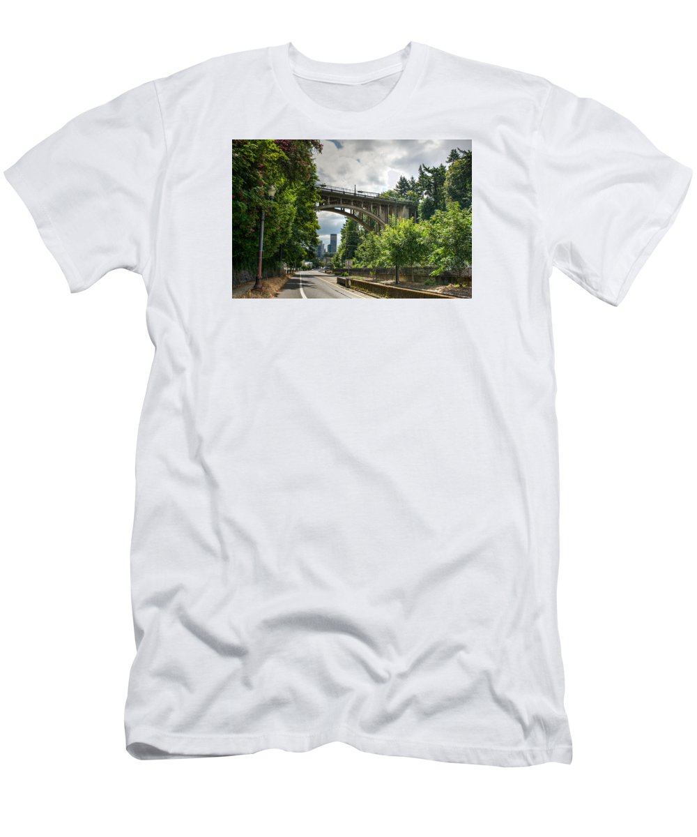 Portland Men's T-Shirt (Athletic Fit) featuring the photograph City Of Bridges by Joan Baker