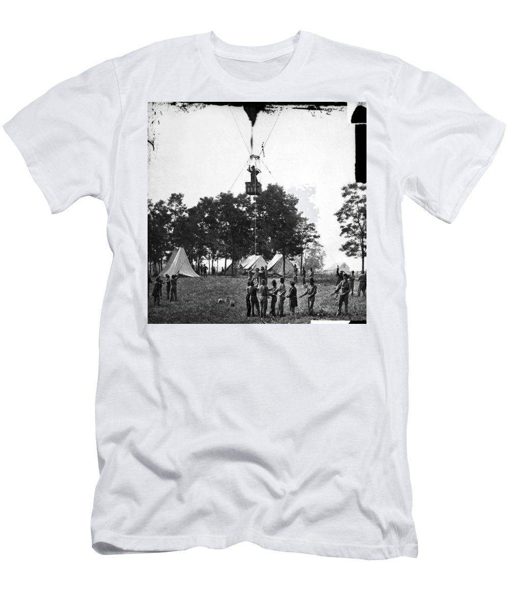 1862 Men's T-Shirt (Athletic Fit) featuring the photograph Civil War: Balloon, 1862 by Granger