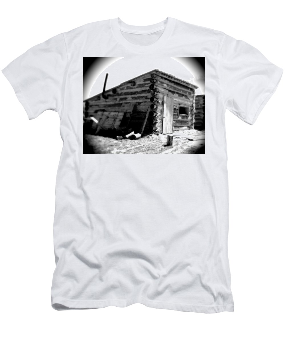 Army Men's T-Shirt (Athletic Fit) featuring the photograph Civil War Cabin 1 Army Heritage Education Center by Jean Macaluso