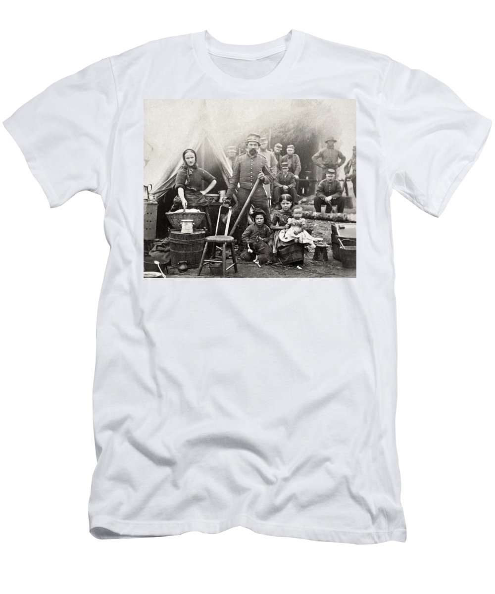 1861 Men's T-Shirt (Athletic Fit) featuring the photograph Civil War: Camp Life, 1861 by Granger