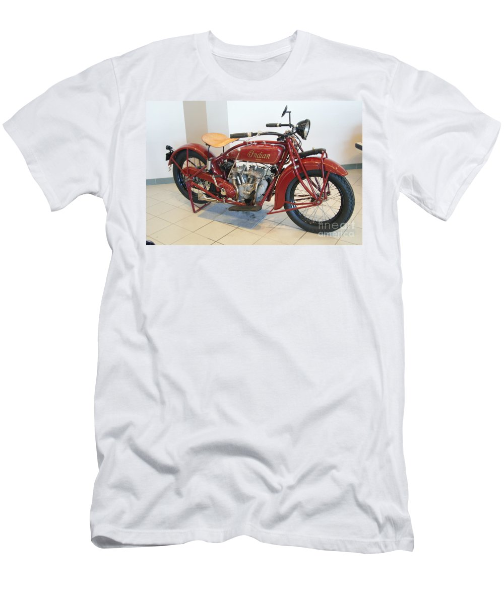 Indian Men's T-Shirt (Athletic Fit) featuring the photograph Classic Vintage Indian Motorcycle Red  # by Rob Luzier