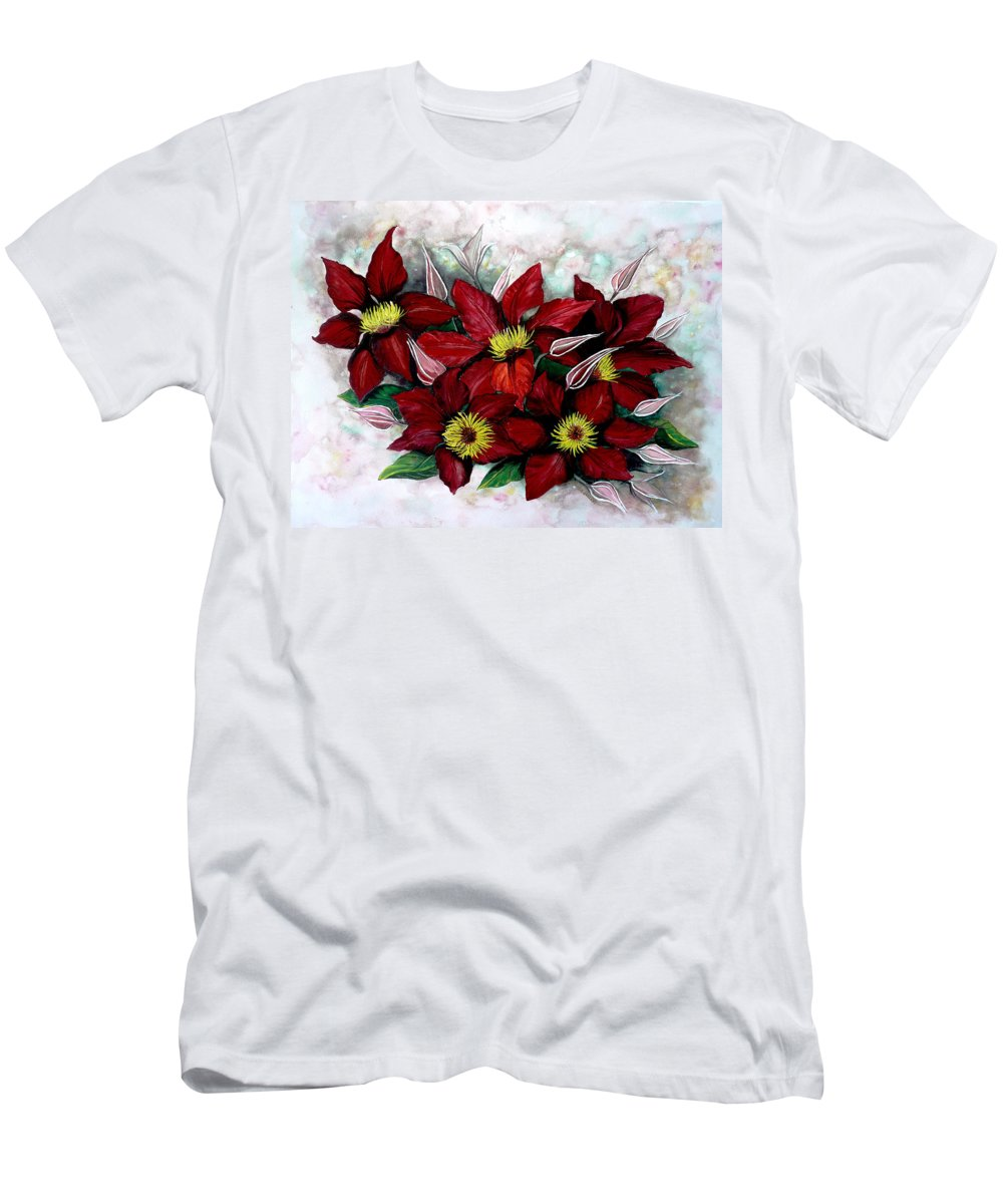 Flower Painting Floral Painting Red Painting Botanical Painting Clematis Painting Greeting Card Painting Flower Vine Painting Men's T-Shirt (Athletic Fit) featuring the painting Clematis Niobe by Karin Dawn Kelshall- Best