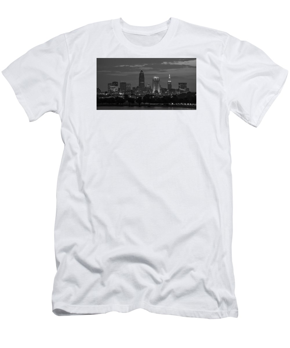 Cleveland Men's T-Shirt (Athletic Fit) featuring the photograph Cleveland After Dark by Stewart Helberg