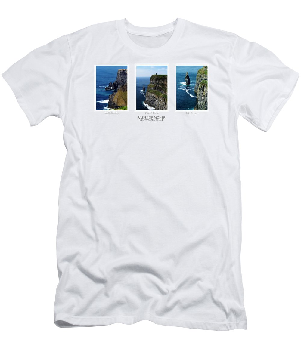 Irish Men's T-Shirt (Athletic Fit) featuring the photograph Cliffs Of Moher Ireland Triptych by Teresa Mucha