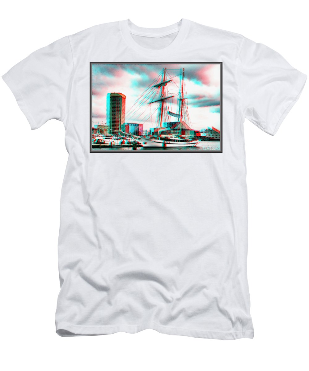 3d Men's T-Shirt (Athletic Fit) featuring the photograph Clipper City - Use Red-cyan 3d Glasses by Brian Wallace