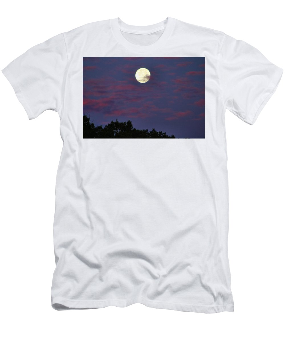 Moon Men's T-Shirt (Athletic Fit) featuring the photograph Closeup Moonset In Colorful Clouds by Kathryn Meyer