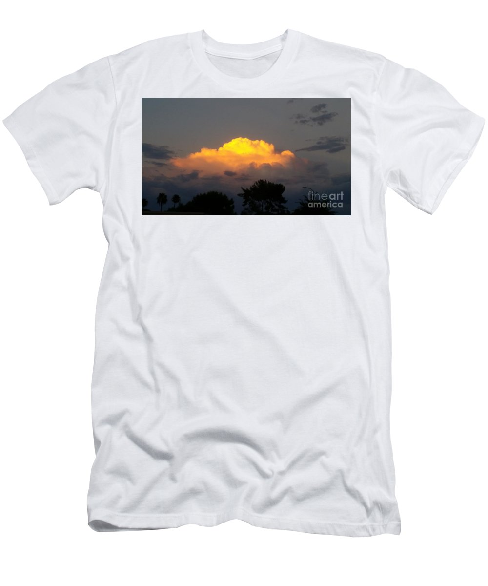 Chaparral Men's T-Shirt (Athletic Fit) featuring the photograph Cloud Of Sun Over Chaparral Lake by Heather Kirk
