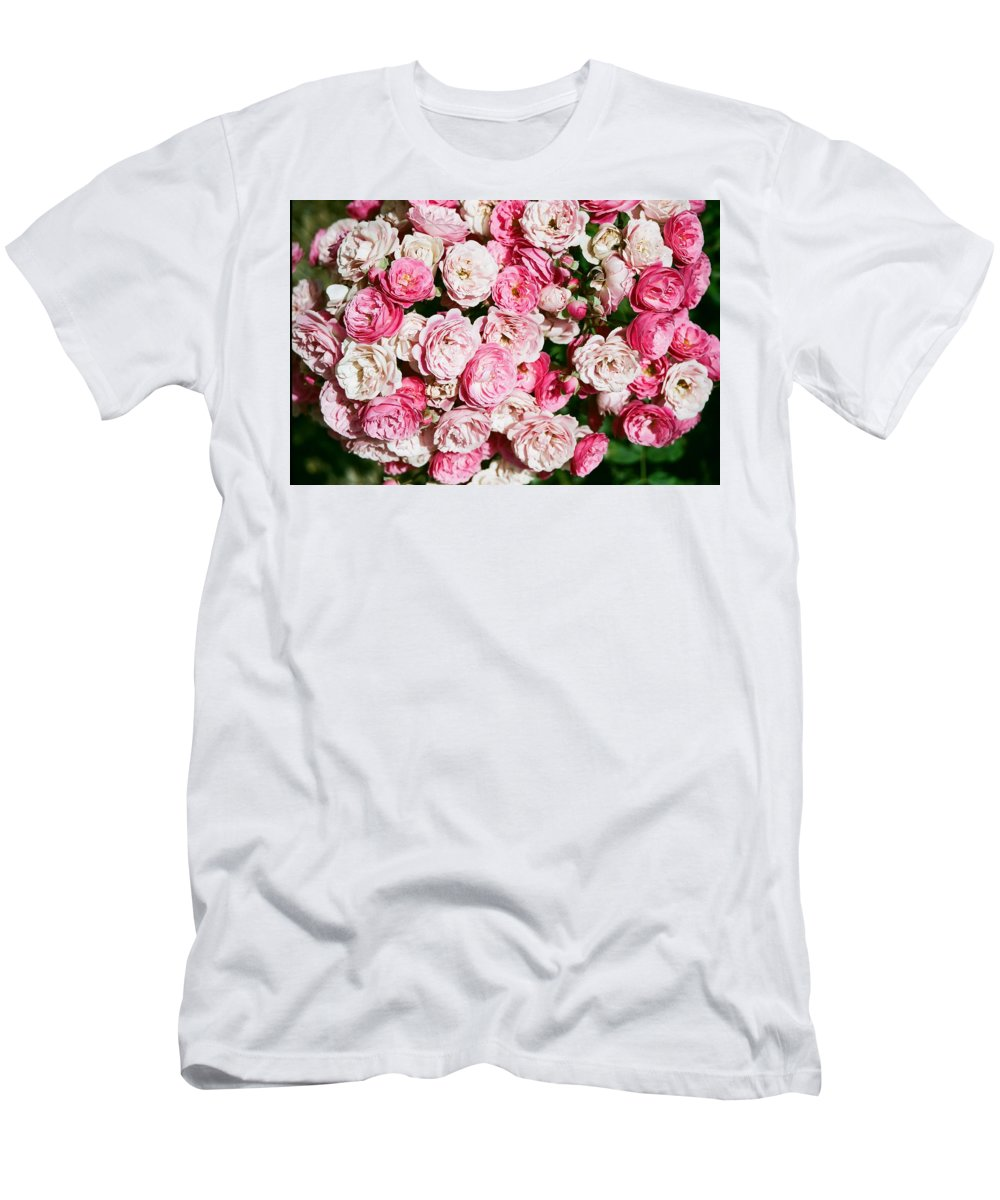 Rose Men's T-Shirt (Athletic Fit) featuring the photograph Cluster Of Roses by Dean Triolo