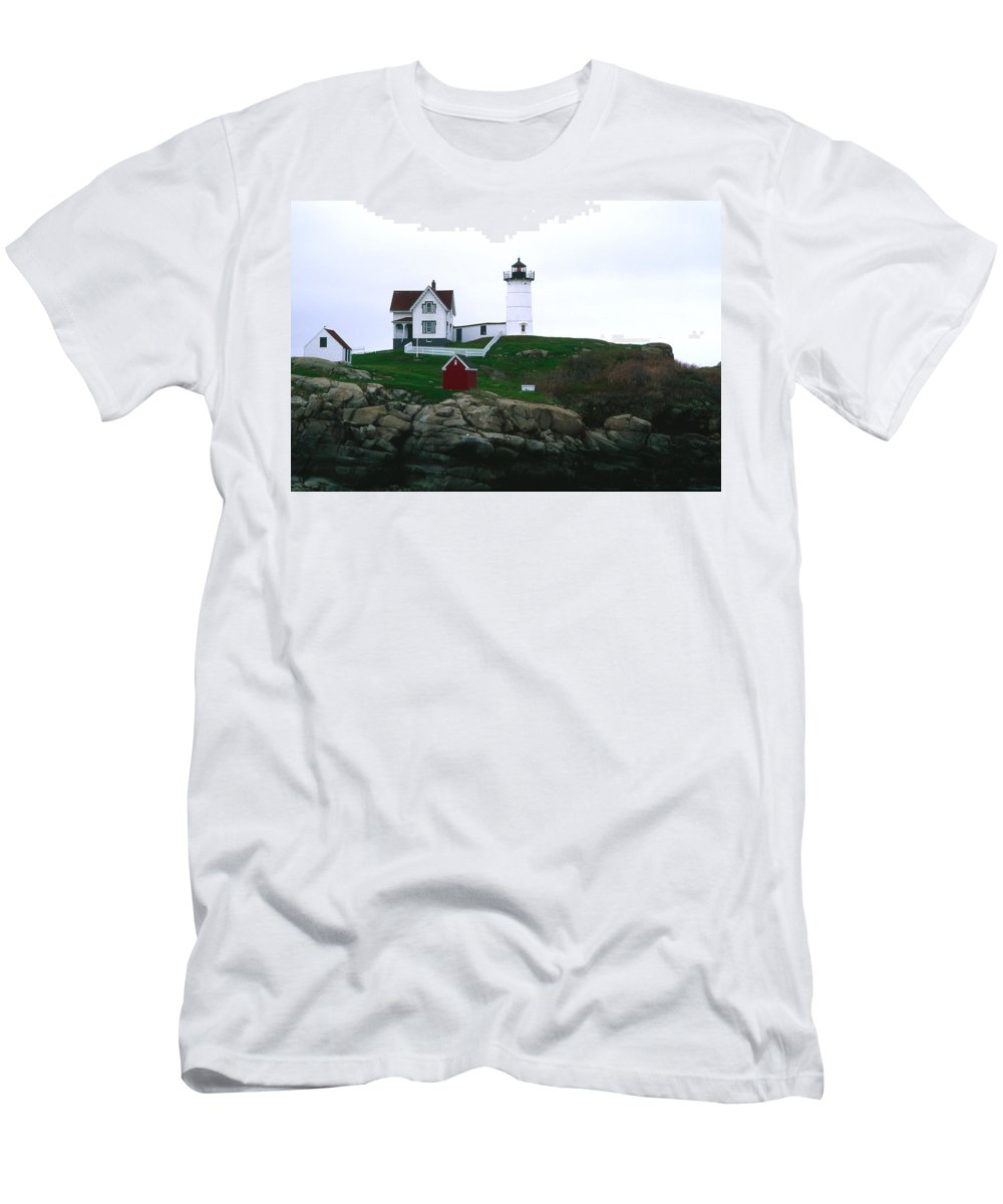 Landscape Lighthouse Nautical New England Nubble Light Cape Neddick Men's T-Shirt (Athletic Fit) featuring the photograph Cnrf0502 by Henry Butz
