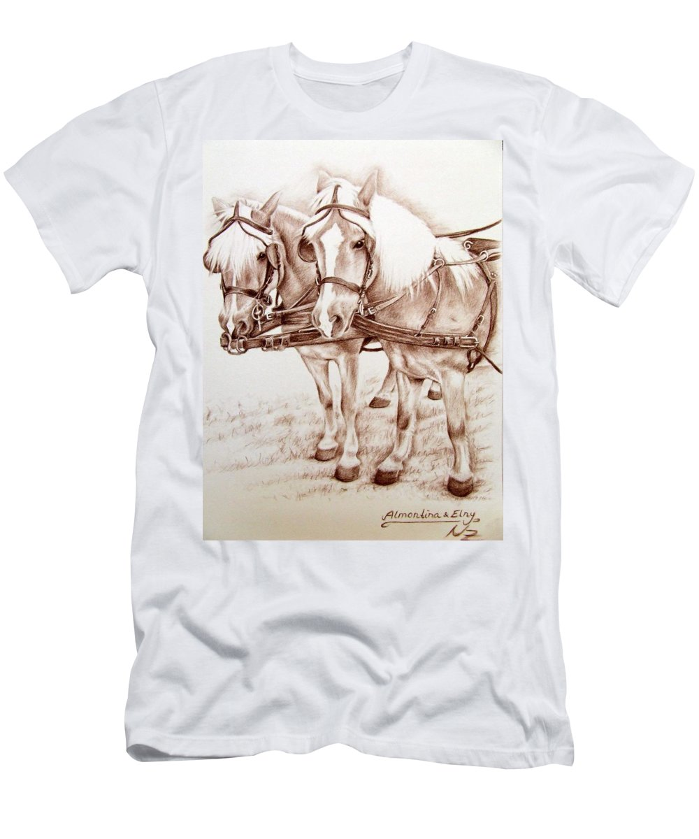 Horses Men's T-Shirt (Athletic Fit) featuring the drawing Coach Horses by Nicole Zeug