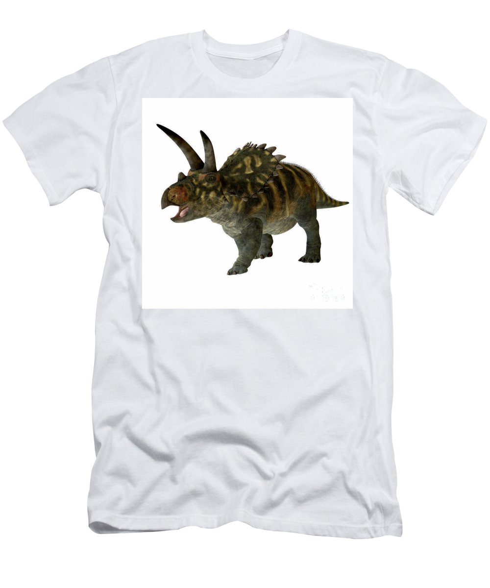 Coahuilaceratops Men's T-Shirt (Athletic Fit) featuring the painting Coahuilaceratops Profile by Corey Ford