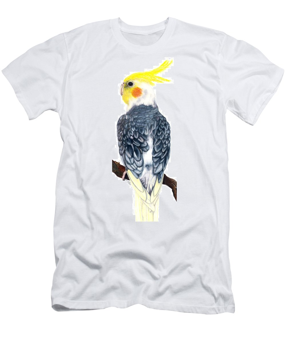 Cockatiel Men's T-Shirt (Athletic Fit) featuring the drawing Cockatiel 1 by Kristen Wesch