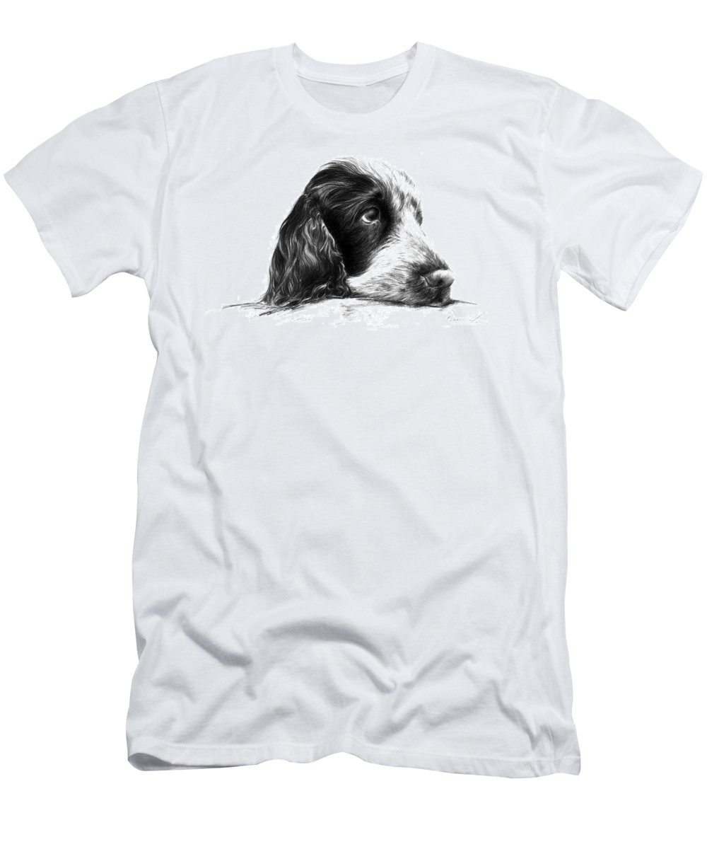 Cocker Spaniel Men's T-Shirt (Athletic Fit) featuring the drawing Cocker Norbu Tibet by Renata Clare