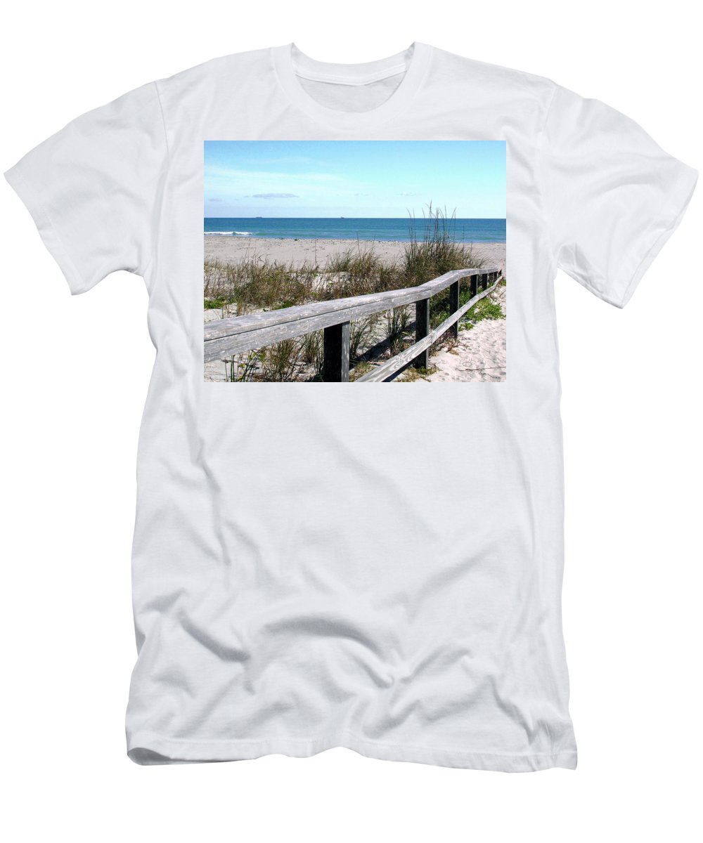 Beach; Florida; Cocoa; Railing; Ocean; Atlantic; Sea; Cocoa Beach; Brevard; Sand; Wood; Ships; Space Men's T-Shirt (Athletic Fit) featuring the photograph Cocoa Beach In Florida by Allan Hughes