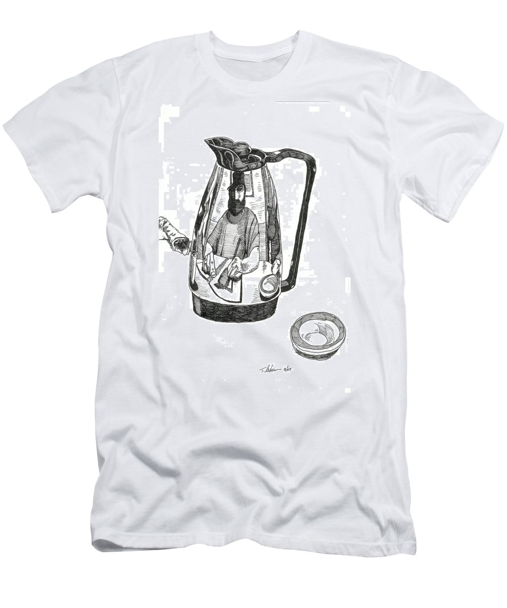 Pen And Ink Men's T-Shirt (Athletic Fit) featuring the drawing Coffee Pot by Tobey Anderson