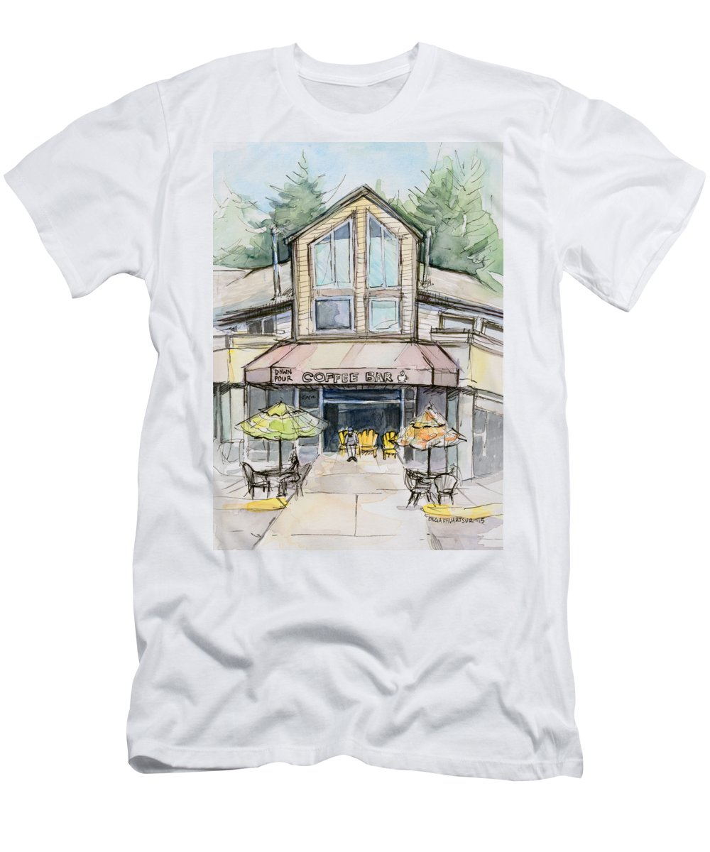Bridle Trails T-Shirt featuring the painting Coffee Shop Watercolor Sketch by Olga Shvartsur