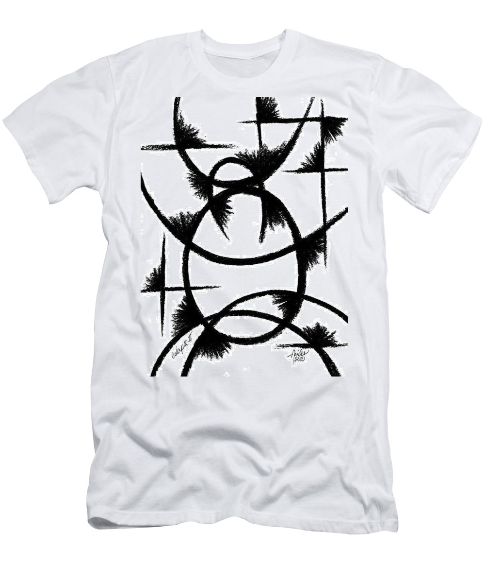 Modernist - Contemporany Men's T-Shirt (Athletic Fit) featuring the drawing Colapse II by Arides Pichardo