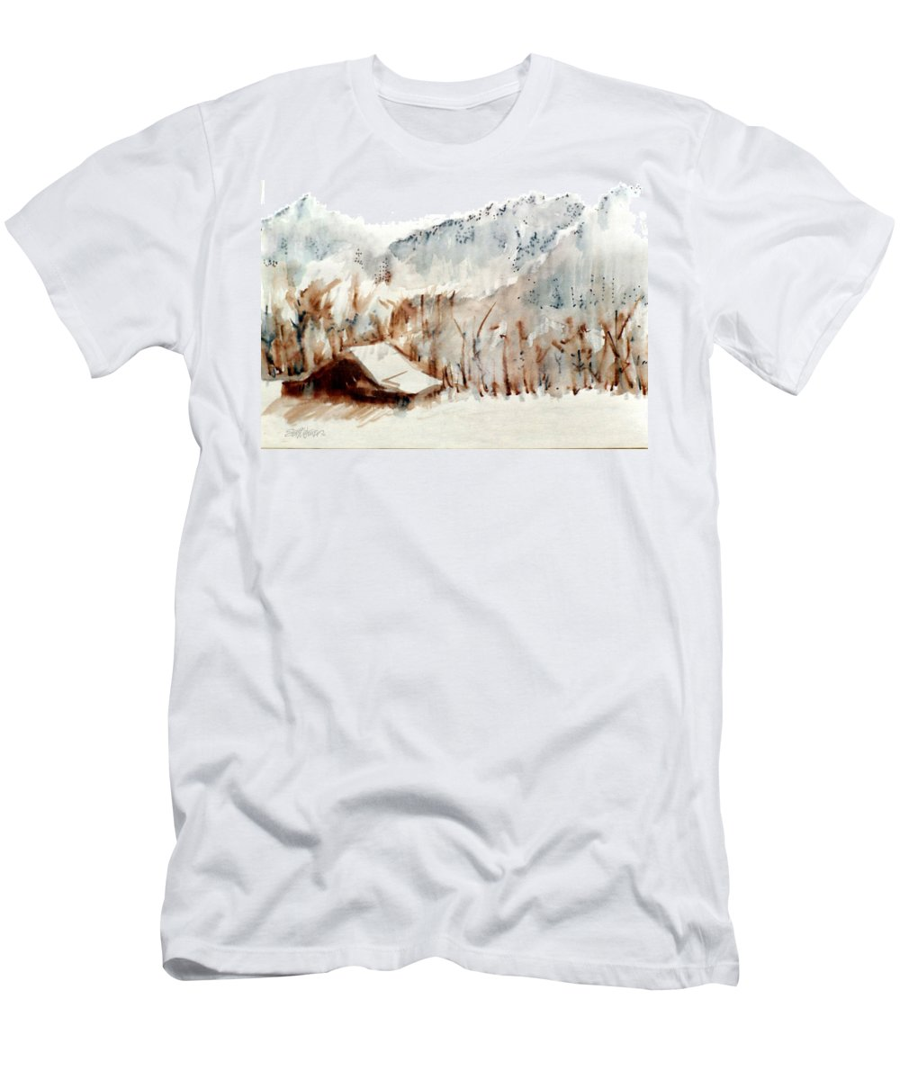 Cold Cove T-Shirt featuring the mixed media Cold Cove by Seth Weaver